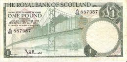 BILLETE DE ESCOCIA DE 1 POUND DEL AÑO 1970  (BANKNOTE) RARO - [ 3] Scotland
