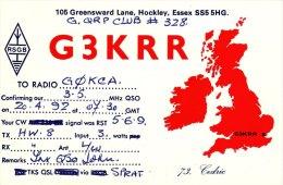 Amateur Radio QSL Card England G3KRR Hockley Essex - Radio Amateur