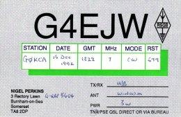 Amateur Radio QSL Card England G4EJW Burnham On Sea Somerset Perkins - Radio Amateur
