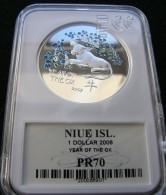 Niue 1 $ 2008 Year Of Ox Silver - Niue