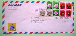 Korea 1981 Cover To England UK - Ceramic Box - Hibiscus Flower - Horse Horseman - Label 175 Anniv. - Korea (...-1945)