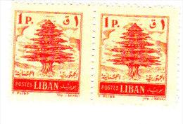 Lebanon 1955, Cedars 1 Pi.red Printed RECTO/VERSO Pair MNH Superb Scarce (genuine)-SKRILL PAY ONLY - Lebanon