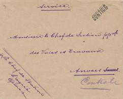 064/21 -- Lettre En Service Des Chemins De Fer 1918 Griffe De Gare CONTICH Vers ANVERS - Poststempel