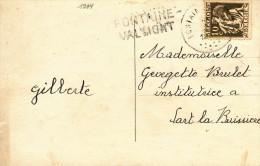 068/21 -- Carte Fantaisie TP Cérès FONTAINE VALMONT - Griffe D´ Origine Nord Belge FONTAINE VALMONT - Poststempel