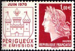 YT4459 FR2010 Type Marianne De Cheffer : 1.00 € + Vignette Juin 1970 Perigueux 1ière Impression - Francia