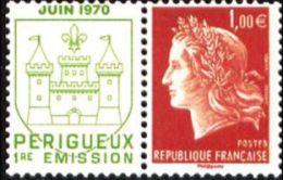 YT4463 FR2010 Type Marianne De Cheffer : 1.00 € + Vignette Juin 1970 Perigueux 1ière Impression - Francia