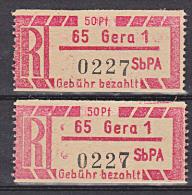 DDR SbPA  ** 50 Pf Einschreibemarken R-Zettel Für Versuchspostämter, Hier GERA  Dickes Papier Gez. 12,5 Getrennt - [6] Repubblica Democratica
