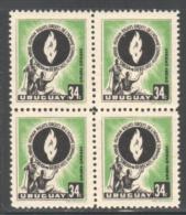 URUGUAY 1958 SCOTT C180 MLH BLOCK OF FOUR VALUE $2.40 - Uruguay