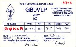 Amateur Radio QSL Card England GB0VLP Stratford On Avon Winter Sports 1993 - Radio Amateur