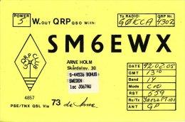 Amateur Radio QSL Card Sweden SM6EWX Bohus Holm - Radio Amateur