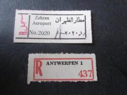 étiquettes Postales Recommandé: Zahran Aéroport   Et Antwerpen Anvers En Belgique - Timbres