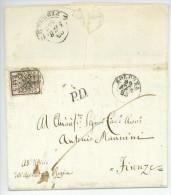 Lettera BOLOGNA A FIRENZE 1853 Baj. 5 Lettre Complète Avec Texte - Papal States