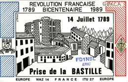 Amateur Radio QSL Card France FD1NSL Prise De La Bastille Revolution Bicentenary - Radio Amateur