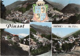 Cpsm Colorisée, PINSOT, Isère, Multivues, Armoiries (20.94) - France