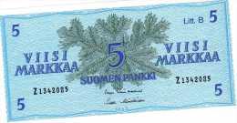 ANTIQUE FINLAND 5 SUOMEN PANKKI 5 MARKKAA MARKA 1963 UNC - Finlande