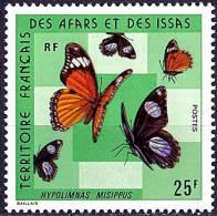 AFARS AND ISSAS  1975 BUTTERFLIES   25 FR SC# 392 VF MNH ** Neuf (DEB03) - Butterflies