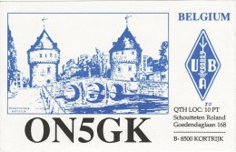 Amateur Radio QSL Card Belgium ON5GK Kortrijk Schoutteten - Radio Amateur