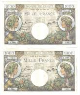 FRANCE 1000 FRANCS 29 JUIN 1944 2 NOTES CONSECUTIVE LOTTO 1053 - 1871-1952 Antiguos Francos Circulantes En El XX Siglo