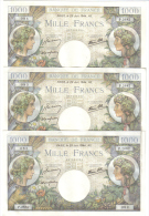 FRANCE 1000 FRANCS 29 JUIN 1944 3 NOTES CONSECUTIVE LOTTO 1058 - 1871-1952 Antiguos Francos Circulantes En El XX Siglo