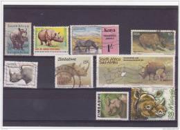 V] 9 Timbres Oblitérés Cancelled Stamps RHINO RHINOCEROS - Rhinozerosse