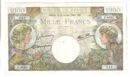 FRANCE 1000 FRANCS 13 JUILLET 1944  LOTTO 1107 - 1871-1952 Frühe Francs Des 20. Jh.