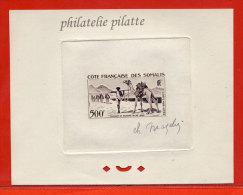 COTE FRANCAISE DES SOMALIS PA N°29 EPREUVE D´ARTISTE DROMADAIRES,ANIMAUX,SEL COULEUR EN SEPIA - French Somali Coast (1894-1967)