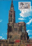 France. Général  Leclerc. Cathédrale De Strasbourg. Carte Maximum. - 2. Weltkrieg
