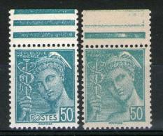 N° 549** Bord De Feuille_1 Papier Blanc-1 Jaunâtre_les 2 En Impression Défectueuse - Variétés: 1941-44 Neufs