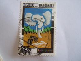 Gabon 1996 Dessins D'enfants éléphant Olifant Carte  O - Gabon