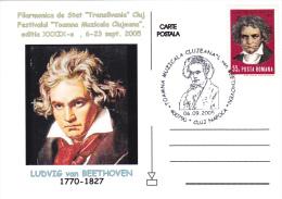 MUSIQUE,MUSIC,LUDVIG VAN BEETHOVEN,COMPOSER,2005,C M,CARTES MAXIMUM,MAXI CARD,ROMANIA. - Música