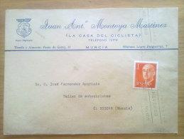 A503-CARTA PUBLICIDAD PUBLICITARIA MURCIA LA CASA DEL CICLISTA,BICICLETAS.MOTOC ICLETAS,JUAN ANTONIO MONTOYA MARTINEZ,EN - 1931-Heute: 2. Rep. - ... Juan Carlos I