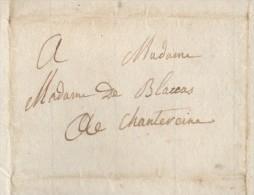 Première Restauration 1814 Mme De BLACAS à CHANTEREINE Rgt. La-Tour-d'Auvergne Bermond De Vachères Riez - Historical Documents