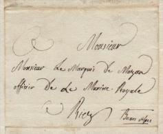FABRE DE MAZAN AIX 1814 Lettre à Son Père Le Marquis à RIEZ Rgt La Tour D'Auvergne Bermond De Vachères - Historical Documents