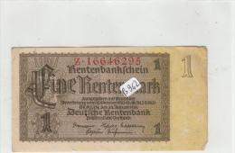 Billets - B962 -  Allemagne    - Billet  1 Rentenmark 1937 ( Type, Nature, Valeur, état... Voir 2 Scans) - [ 4] 1933-1945: Derde Rijk