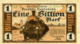 Notgeld Reichsbahn  Karlsruhe  1  Billion  Mark  1923 - [ 3] 1918-1933 : Weimar Republic