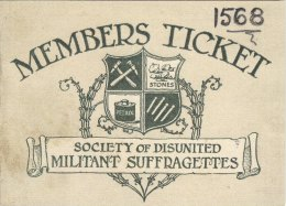 Suffragette Ephemera Spoof Membership Card Society Militant Women Suffragists Replica - Other Collections