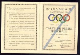 IX OLYMPIADE AMSTERDAM 1928.   CARTE DE PRESSE PRINCIPALE  -  OLYMPIC GAMES - Historische Dokumente