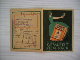 Portafoto Emporio Fotografico L.Mazzoletti - COMO. Gevaert Film-Pack Roll-Film Anni´40 - Vecchi Documenti