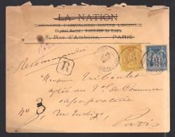 FRANCE 1883 N° 92 & 90 Obl. S/Lettre Entiére Recommandée - 1876-1898 Sage (Type II)