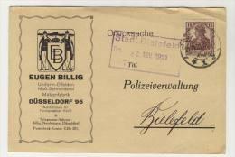 Deutsches Reich Postkarte mit Zudruck Eugen Billig D�sseldorf