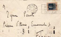 1927 LETTERA  CON ANNULLO PISA   + TARGHETTA ACQUISTATE I BUONI POSTALI - Marcophilie