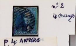 -Epaulette N°2,oblitération N° 4 Anvers 4 Marges- Proposer Offre ! - 1849 Epaulettes