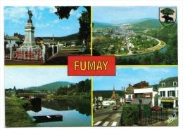 Fumay, 4 Vues, Monument Aux Morts Et Place, Boucle De La Meuse Et La Ville, Passerelle, Blason, Café Du Nord, Estel - Fumay