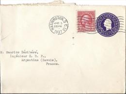 Courrier Enveloppe Cachet WASHINGTON Timbre 2 C Et Gaufré 3c 1937 Adr Argentine SAVOIE De W T SCHALLER US Geological Sur - United States