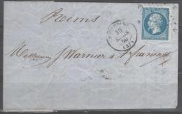 Napoléon III  N° 14A Avec Bord De Feuille (Variété, Taches Et Filets) Avec Oblitération Losange Sur Lettre  TTB - 1853-1860 Napoleone III