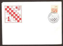 Chess Schach Ajedrez Echecs Jugoslavija 1977 Postmark Vrsak Opening Int. Chess Tournament CKM8 7738A Winner: Smejkal - Schaken