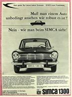 Reklame Werbeanzeige  -  Simca 1300  -  Muß Man Einem Auto Unbedingt Ansehen  -  Von 1965 - Raucherutensilien (ausser Tabak)
