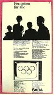 Reklame Werbeanzeige  -  SABA  -  Fernsehen Für Alle  -  Von 1965 - Fernsehgeräte