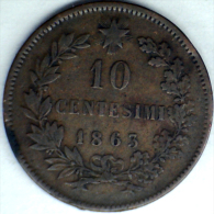 1863, ITALY, 10 CENTESIMI LARGER COPPER COIN **SEE PHOTO** - 1861-1878 : Victor Emmanuel II