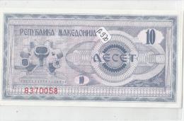 Billets - B920 -  Macédoine    - Billet  10 Aecet   - Etat Neuf  ( Type, Nature, Valeur, état... Voir 2 Scans) - Macedonia